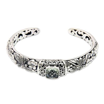 Artisan Crafted Prasiolite Ornate Sterling Silver Cuff Bracelet