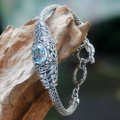 Blue topaz link bracelet, 'Jungle Lagoon' - Handcrafted Blue Topaz Silver Bracelet from Bali