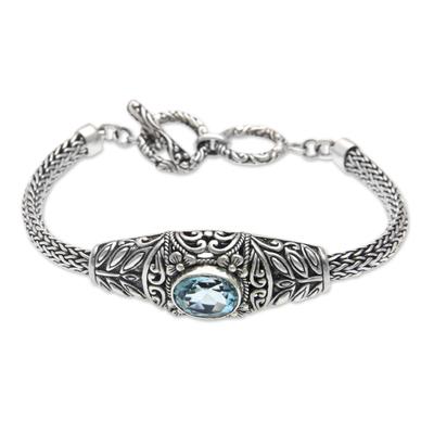 Handcrafted Blue Topaz Silver Bracelet from Bali