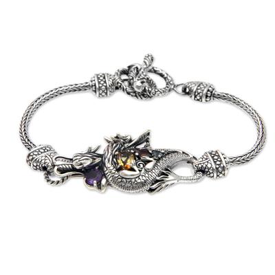 Multi-gemstone pendant bracelet, 'Dragon's Prize' - Silver and Multi Gemstone Handcrafted Dragon Bracelet