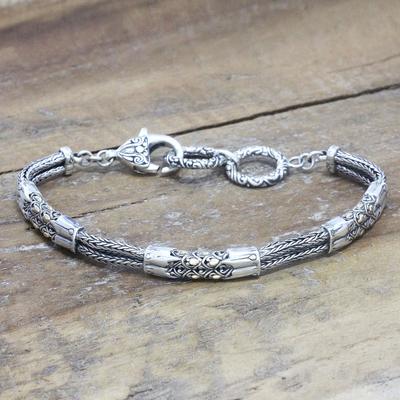 Gold accent link bracelet, 'Golden Soul' - Balinese Artisan Crafted 18k Gold Accent Silver Bracelet