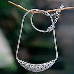 Reversible Sterling Silver Handcrafted Heart Theme Necklace, 'Fallen Hearts'