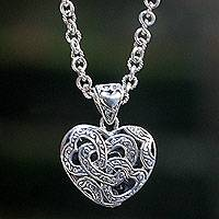 Sterling silver pendant necklace, 'Tropical Heart' - Handcrafted Sterling Silver Heart Necklace from Bali