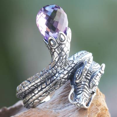 Amethyst cocktail ring, 'Royal Dragon' - Original Artisan Crafted Silver Dragon Ring with Amethyst