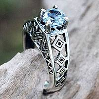 Blue topaz cocktail ring, 'Sky Goddess Temple' - Silver Lattice Handcrafted Blue Topaz Cocktail Ring