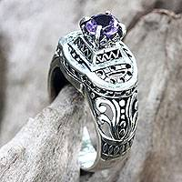 Amethyst cocktail ring, 'Javanese Temple' - Handcrafted Amethyst Ring with Silver Cutout Motifs