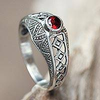 Garnet cocktail ring, 'Crimson Dawn' - Sterling Silver Handcrafted Garnet Cocktail Ring