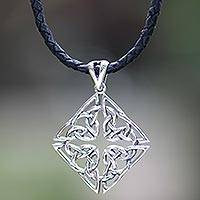 Sterling silver pendant necklace, 'Celtic Diamond'