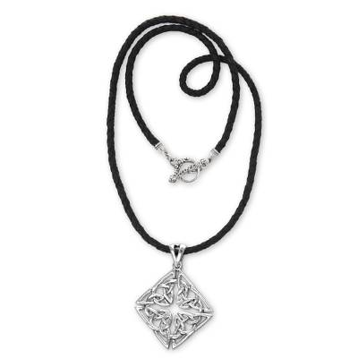 Sterling silver pendant necklace, 'Celtic Diamond' - Traditional Javanese Motif Handcrafted Silver Necklace
