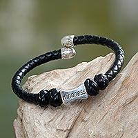 Leather and sterling silver cuff bracelet, 'Kindness in Black' - Sterling Silver Hand Braided Black Leather Bracelet