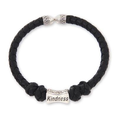 Sterling Silver Hand Braided Black Leather Bracelet
