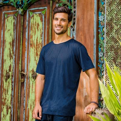 Men's cotton founder's t-shirt, 'Dark Blue Kuta Breeze' - Cotton Jersey Founder's T-shirt for Men in Dark Blue