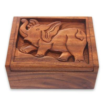 Wood decorative box, 'Furious Elephant' - Balinese Hand Crafted Decorative Box with Elephant Carving