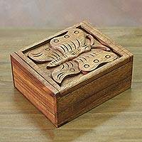 Wood box, 'Wanasari Butterfly' - Hand Carved Wood Box with Butterfly Relief Sculpture Lid