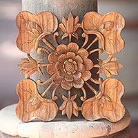 Wood relief panel, 'Life of the Lotus' - Balinese Suar Wood Signed Lotus Blossom Relief Panel