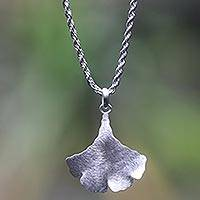 Sterling silver necklace, 'Oyster Mushroom' - Unique Sterling Silver Balinese Jewelry Necklace