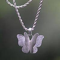 Sterling silver pendant necklace, 'Graceful Butterfly' - Three-dimensional Butterfly on Sterling Silver Necklace