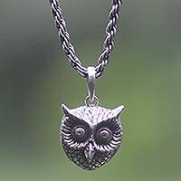 Sterling silver pendant necklace, 'Owl Guardian' - Balinese Artisan Crafted Silver Bird Necklace