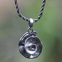 Sterling silver pendant necklace, 'Grey Nautilus' - Artisan Crafted Sterling Silver Necklace Antiqued Finish