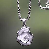 Sterling silver pendant necklace, 'White Nautilus' - Shell-shaped Sterling Silver Pendant Necklace from Bali