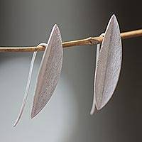 Sterling silver drop earrings, 'Bamboo Leaves' - Leaf-shaped Earrings in Brushed Satin Sterling Silver
