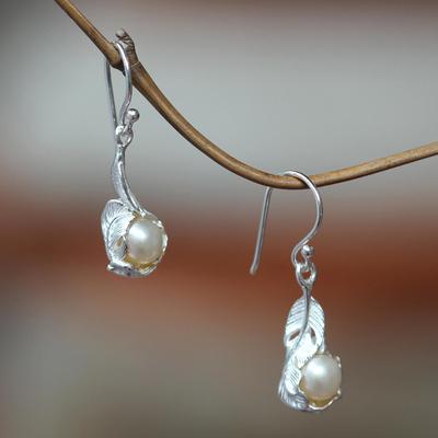 Cultured pearl dangle earrings, 'Majestic Muse' - Pearls in Leaf Earrings Sterling Silver jewellery from Bali