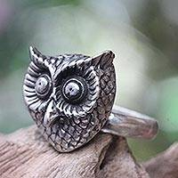 Sterling silver cocktail ring, 'Owl Guardian' - Silver Owl Theme Balinese Artisan Crafted Ring