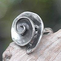 Sterling silver cocktail ring, 'Grey Nautilus' - Artisan Crafted Sterling Silver Ring Antiqued Finish