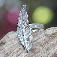 Sterling silver cocktail ring, 'White Feather' - Sterling Silver Cocktail Ring with Feather Theme