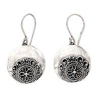Sterling silver dangle earrings, 'Candidasa Beach Blossom'