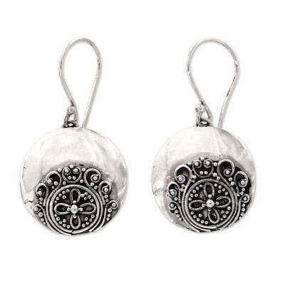 Sterling silver dangle earrings, 'Candidasa Beach Blossom' - Handcrafted Sterling Silver Earrings with Balinese Artistry