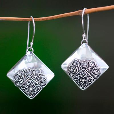 Sterling silver dangle earrings, 'Besakih Garden' - Modern Balinese Handcrafted Sterling Silver Earrings