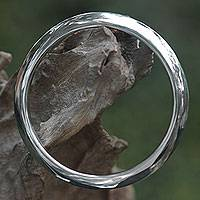 Sterling silver bangle bracelet, 'Moonbeam Halo' - Fair Trade Sleek Polished Silver Bangle Bracelet