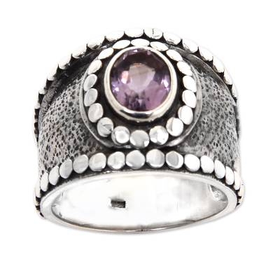 Amethyst cocktail ring, 'Perfectly Purple' - Fair Trade One-Carat Amethyst and Silver Cocktail Ring