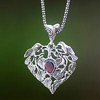 Garnet pendant necklace, 'Build Our Nest' - Bird Theme Handcrafted Silver and Garnet Heart Necklace