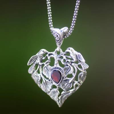 Silver long chain necklace - Bird Theme Handcrafted Silver and Garnet Heart Necklace