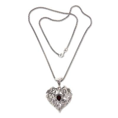 Bird Theme Handcrafted Silver and Garnet Heart Necklace