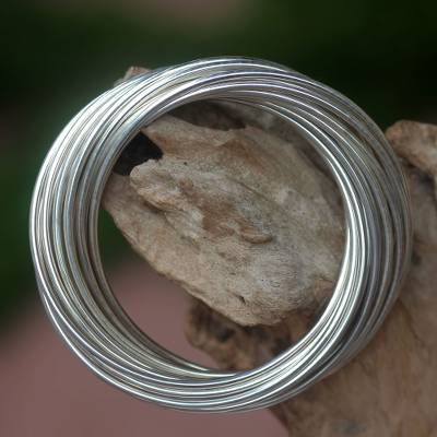 Sterling silver bangle bracelet, 'United in Strength' - Modern Artisan Crafted Sterling Silver Bangle