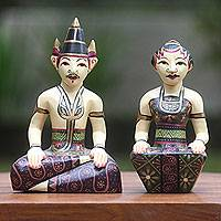Mahogany sculptures, 'Unconditional Love II' (pair) - Handpainted Indonesian Bride and Groom Wood Sculpture Pair