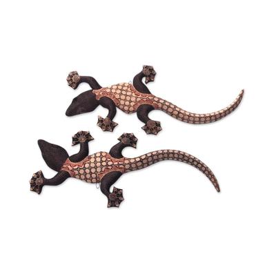Wood batik wall sculptures, 'Playful Geckos' (pair) - Batik on Wood Gecko Wall Sculptures Artisan Crafted (Pair)