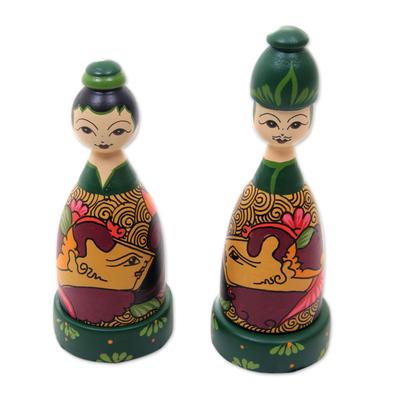 Mahogany wood toothpick holders, 'Jogja Couple' (pair) - Hand Painted Bride and Groom Wood Toothpick Holders (Pair)