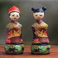 Mahogany wood toothpick holders, 'Manten Cino' (pair) - Mahogany Toothpick Holders Hand Painted Bride and Groom