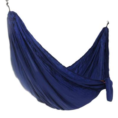 Parachute hammock, 'Uluwatu Navy Blue' (double) - Navy Blue Parachute Hammock with Hook Rope Included (Double)
