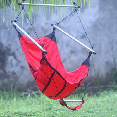 Parachute hammock chair, 'Nusa Dua Red' - Red Parachute Hammock Swing Portable Hanging Chair