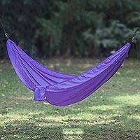 Parachute hammock, 'Uluwatu Purple' (single) - Purple Parachute Hammock with Hanging Accessories (Single)