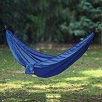 Parachute hammock, 'Uluwatu Navy Blue' (single) - Navy Blue Parachute Hammock with Hook Rope Included (Single)