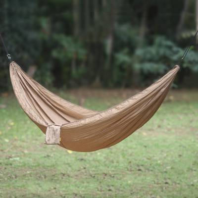 Parachute hammock, 'Uluwatu Tan' (single) - Tan Color Parachute Hammock from Indonesia (Single)