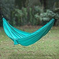 Parachute hammock, 'Uluwatu Jade' (single) - Portable Parachute Fabric Hammock Green Single Size