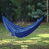 Parachute hammock, 'Uluwatu Blue' (single) - Navy Blue Parachute Hammock with Hook Rope Included (Single)