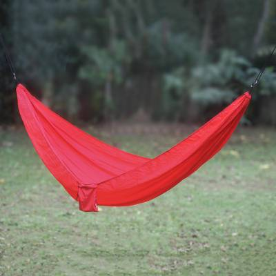 Parachute hammock, 'Uluwatu Red' (double) - Red Parachute Hammock with Hook Rope Included (Double)
